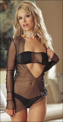 Sheer Sleep Shirt, Bra & Crotchless Panty Set