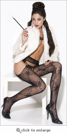 Suspender Crotchless Pantyhose Patterned Lace