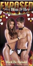 *FREE CROTCHLESS PANTY* Tuxedo Thong Set His & Hers