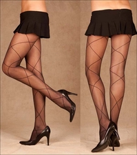 1841 Patterned Pantyhose Criss Cross Diamond Tights