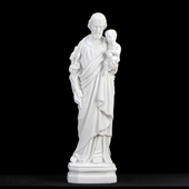 "16"" Italian White Saint Joseph w. Child Statue"