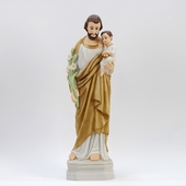 "16"" Painted Saint Joseph w. Child Statue"