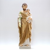 "22"" Painted Saint Joseph w. Child Statue"