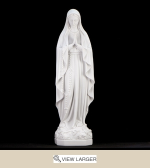 "23"" Italian White Lady of Lourdes Statue"
