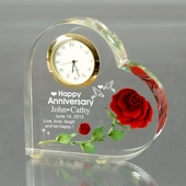 Personalized Anniversary Heart Clock w/ Rose