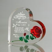 """Happy Birthday"" Hand-Carved Red Rose Heart"