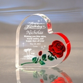 """""""Happy Birthday"""" Hand-Carved Red Rose Heart"""