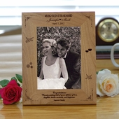"""Joy"" Wood Personalized Wedding Picture Frame"