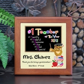 'Number One Teacher' Personalized Tile Frame