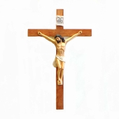 Painted Wooden Hanging Crucifix