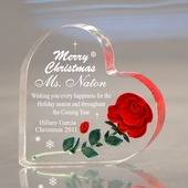 Personalized Christmas Heart w. Handcrafted Rose
