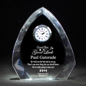 Personalized Goodbye & Good Luck Crystal Clock