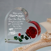 Personalized Heart w. Rose for Wedding