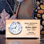 Personalized Maple Wood Wedge Retirement Clock