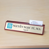 Personalized Piano Finish Desk Wedge with Card Holder