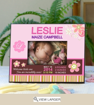 Personalized Record Photo Frame for New Baby