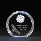 Personalized Eagle Retirement Crystal Round Clock
