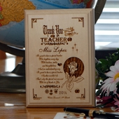 Personalized 'Rose Thanks' Wood Teacher Plaque