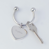 Personalized Silver Heart Keychain