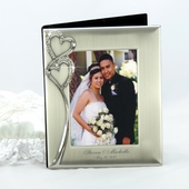 Personalized Silver Photo Album w. Crystal Hearts