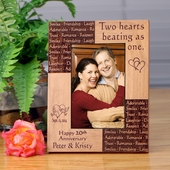 Personalized 'Two Hearts as One' Anniversary Photo Frame