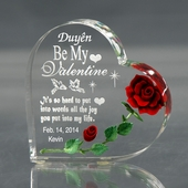 Personalized Valentine Heart w. Red Rose Acrylic