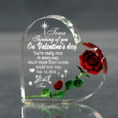 Personalized Valentine Hearts w. Red Rose