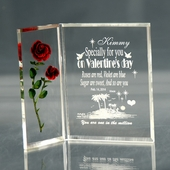 Personalized Valentine Plaque w. Red Rose