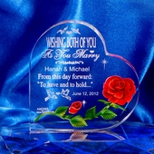 Personalized Wedding Heart w. Red Rose