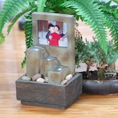 Tabletop Water Fountain with Photo Frame
