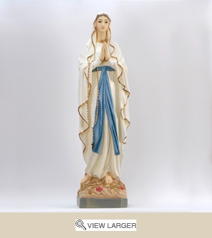 White and Gold Lady of Lourdes Statue