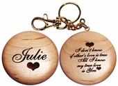 Wooden Love Message Key Chain
