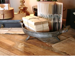 Footed Iron & Wood Centerpiece