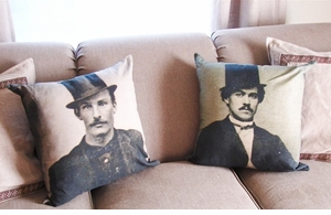 """Dapper Man"" Daguerreotype-Style Pillows"