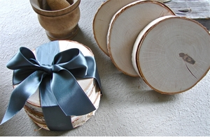 "Set/4 Thick Birch Slices -- Perfect All-Purpose ""Coasters"""