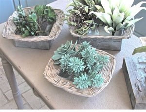 Set/3 Zinc & Wicker Planters (ONLY 1 SET LEFT!)