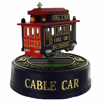"San Francisco 3"" Cable Car Model Music Box: Green"