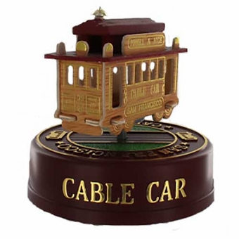 "San Francisco 3"" Cable Car Model Music Box: Oak"