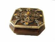 8 Sided Amber Enamel Box