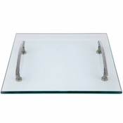 Alan Lee Princess Collection 14In Square Glass Tray With Handles