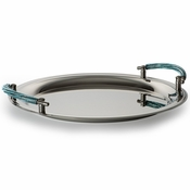 Alan Lee Princess Collection Circular Serving Tray With Handles Crystal Ice