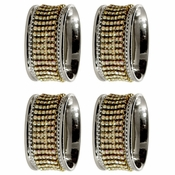 Alan Lee Princess Collection Oval Stainless Steel Napkin Rings Set Of Four Gold