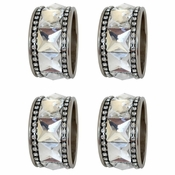 Alan Lee Princess Collection Round Stainless Steel Napkin Rings With Large Crystals Set Of Four