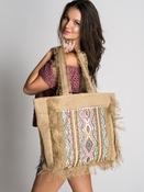 Bardo Embroidered Frayed Tote - Natural/ Pink