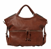 Big Buddha Reed Cognac Satchel with Strap - SPECIAL