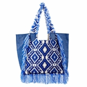 BLUE AND WHITE BROCADE TOTE WITH FRINGE AND LEATHER