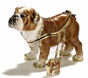Bulldog Box With Necklace