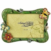Butterfly & Flowers 6x4 Green Frame - CLOSEOUT