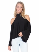 Cold Shoulder Top Black