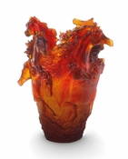 Daum Crystal Amber Horse Vase - Guaranteed Lowest Price